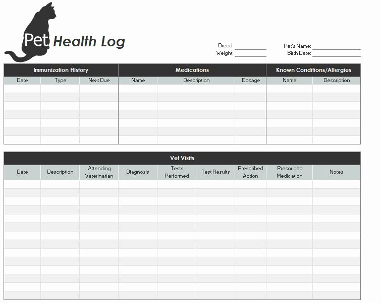Dog Health Record Template Elegant Pet Health Record Template