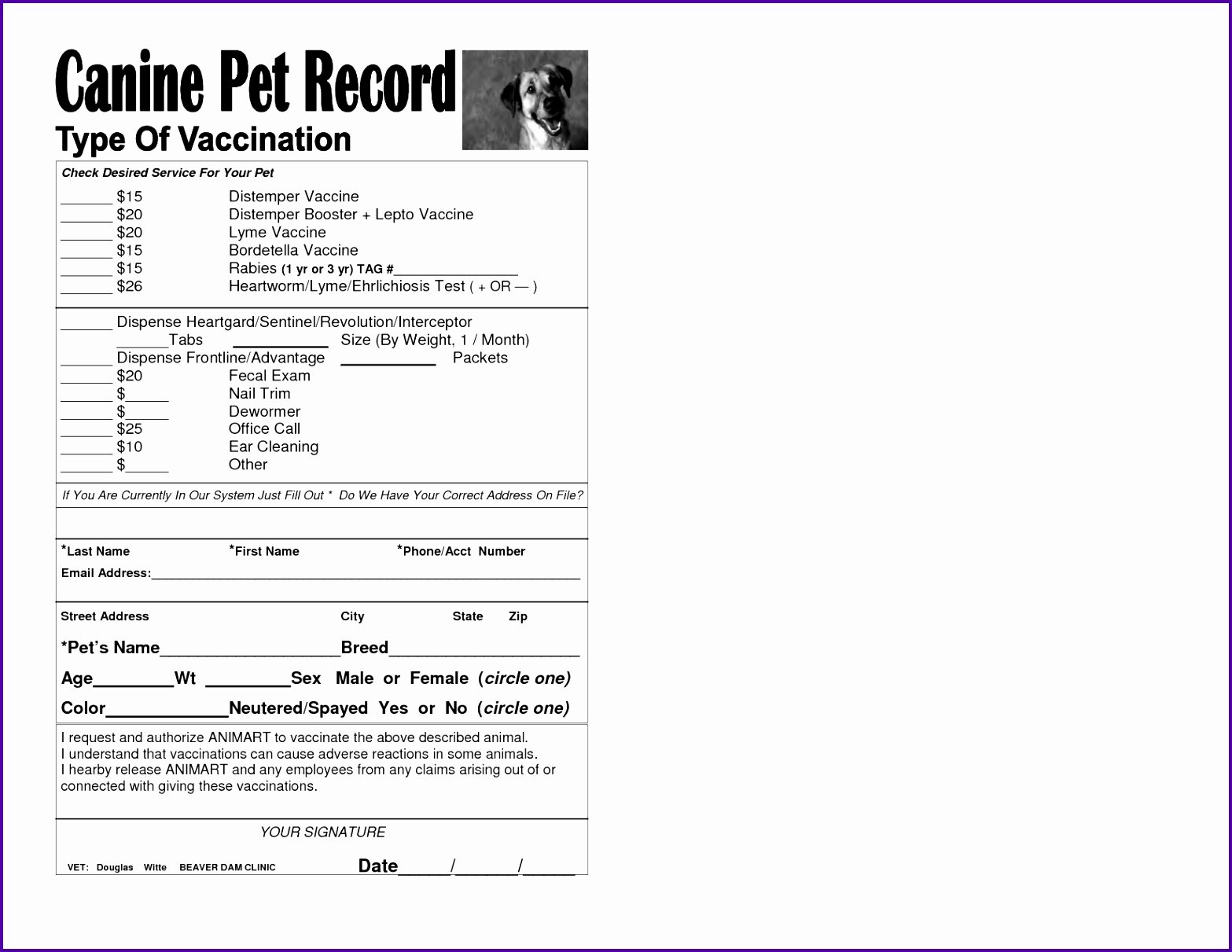 printable puppy vaccination record