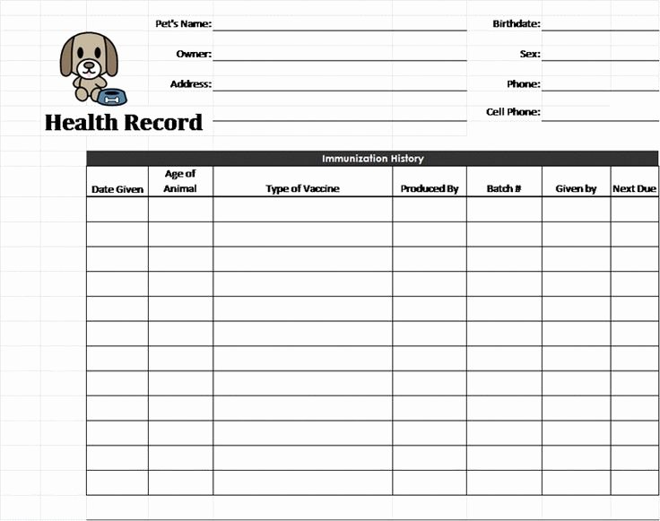 Dog Health Record Template Luxury Puppy Records Template Pet Health Record Template