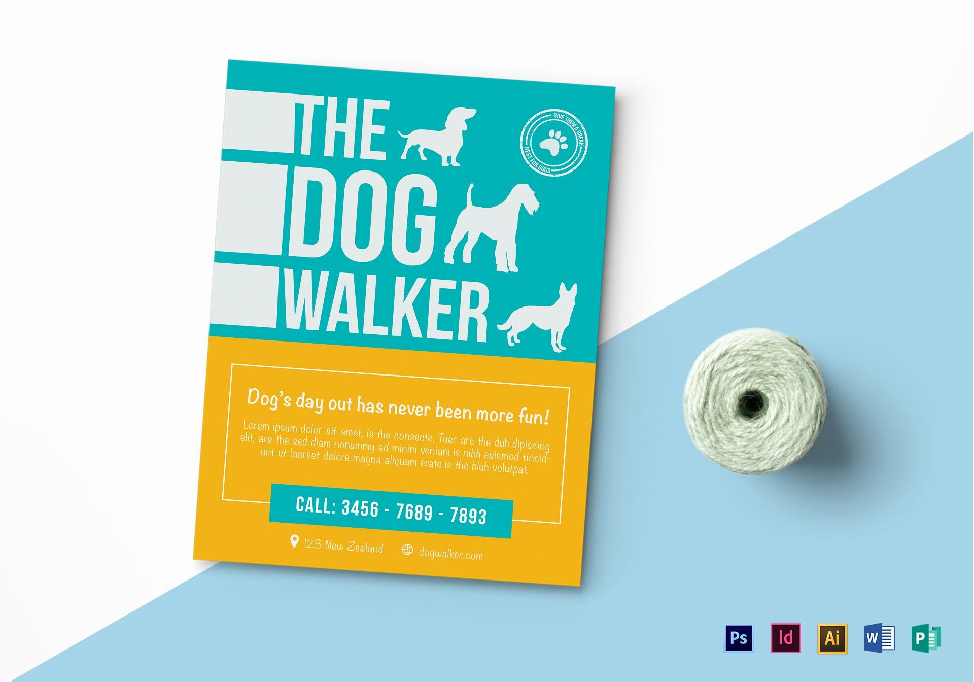 Dog Walking Flyer Template Awesome Dog Walker Flyer Design Template In Psd Word Publisher