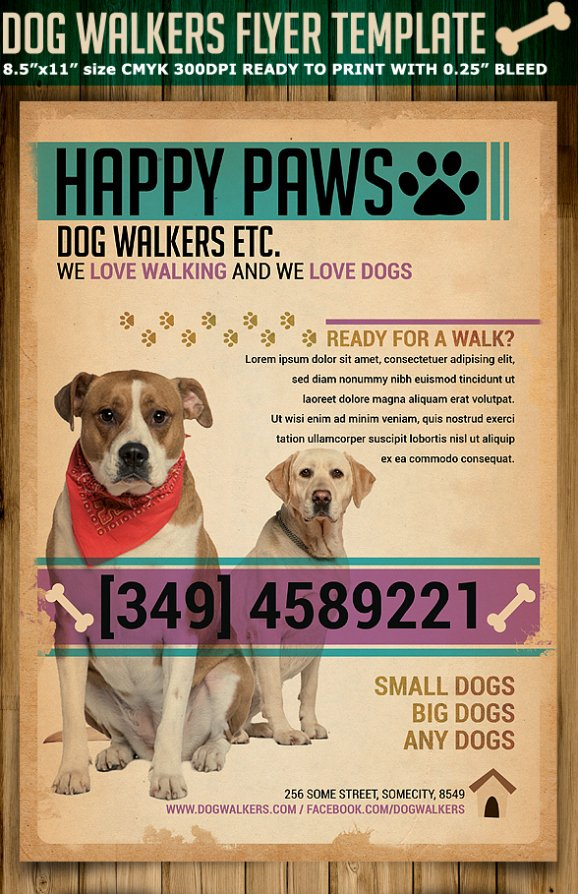 Dog Walking Flyer Template Awesome Dog Walkers Flyer Template