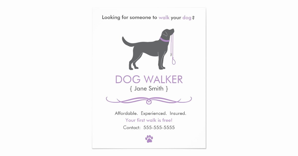 Dog Walking Flyer Template Beautiful Dog Walker Walking Business Flyer Template Small
