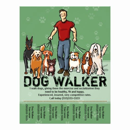 Dog Walking Flyer Template Elegant Dog Walker Dog Walking Guy Grn Promotemplate Flyer