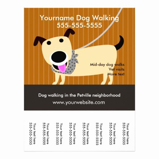 Dog Walking Flyer Template Fresh Dog Walker S Flyer with Tear Off Tags