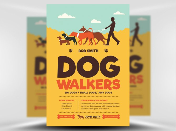 Dog Walking Flyer Template Inspirational Dog Walkers Flyer Template Flyerheroes