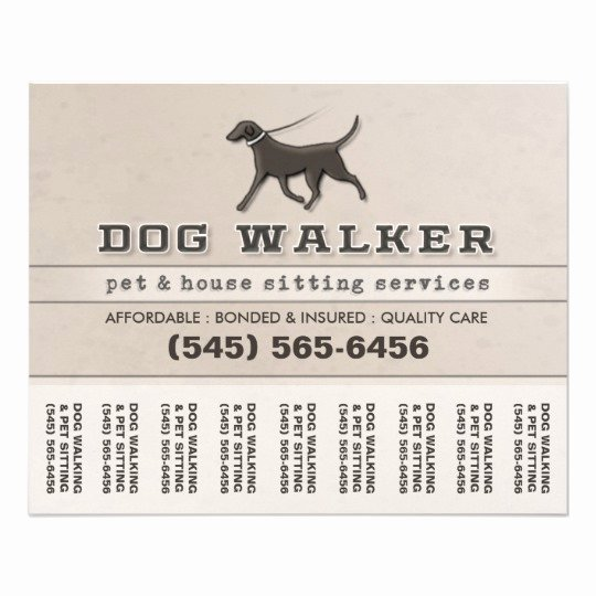 Dog Walking Flyer Template Lovely Dog Walker & Pet Sitting Tear F Flyer 5 6 X 4 5