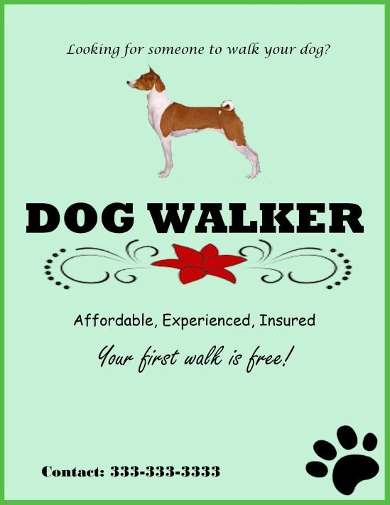 Dog Walking Flyer Template Lovely Experienced Dog Walker Template