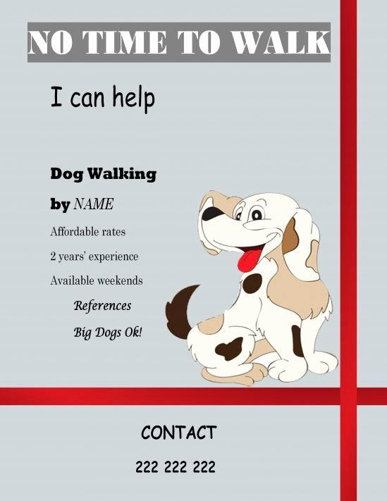 Dog Walking Flyer Template Lovely Free Templates Dog Walking