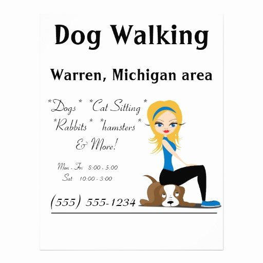 Dog Walking Flyer Template New Dog Walker Pet Sitter Business Flyers