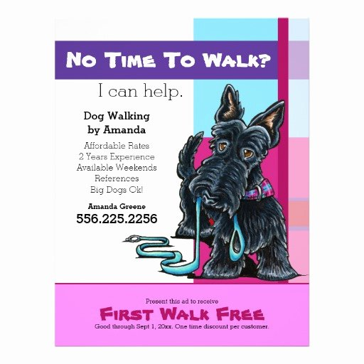 Dog Walking Flyer Template New Dog Walker Scottie Plaid Discount Coupon Ad Flyer Design