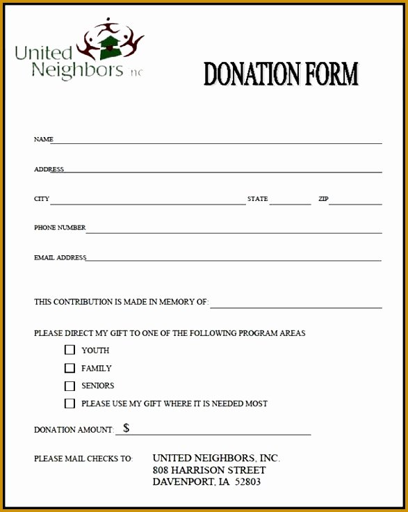 Donation form Template Pdf Luxury 7 In Kind Donation form Template