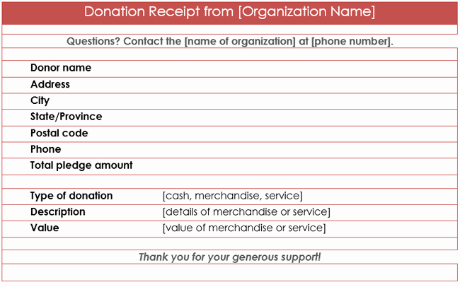 Donation form Template Word Beautiful Donation Receipt Template 12 Free Samples In Word and Excel