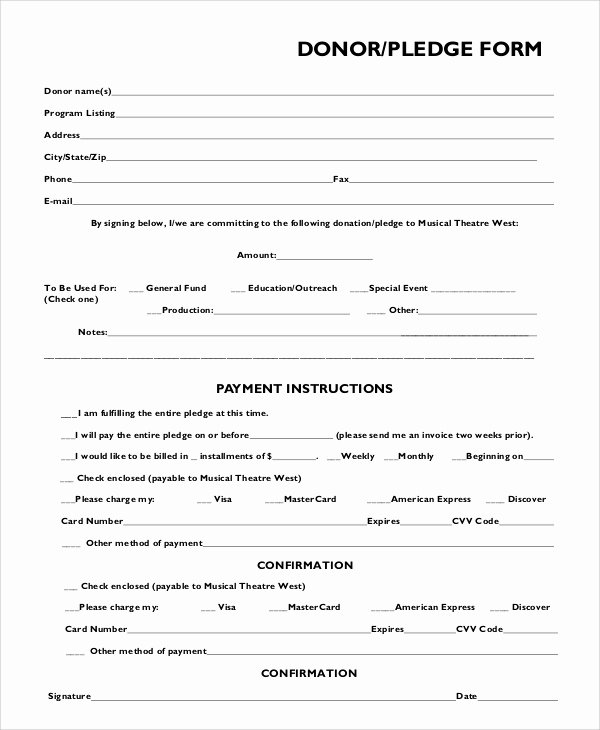 Donation form Template Word Fresh 8 Sample Pledge forms Pdf Word