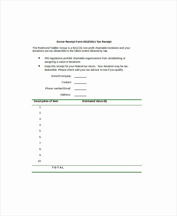 Donation form Template Word Fresh Word Receipt Template 7 Free Word Documents Download