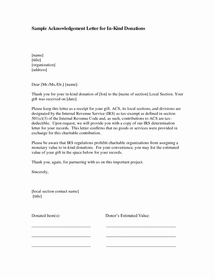 Donation Receipt Letter Template Best Of In Kind Donation Acknowledgement Include Photos