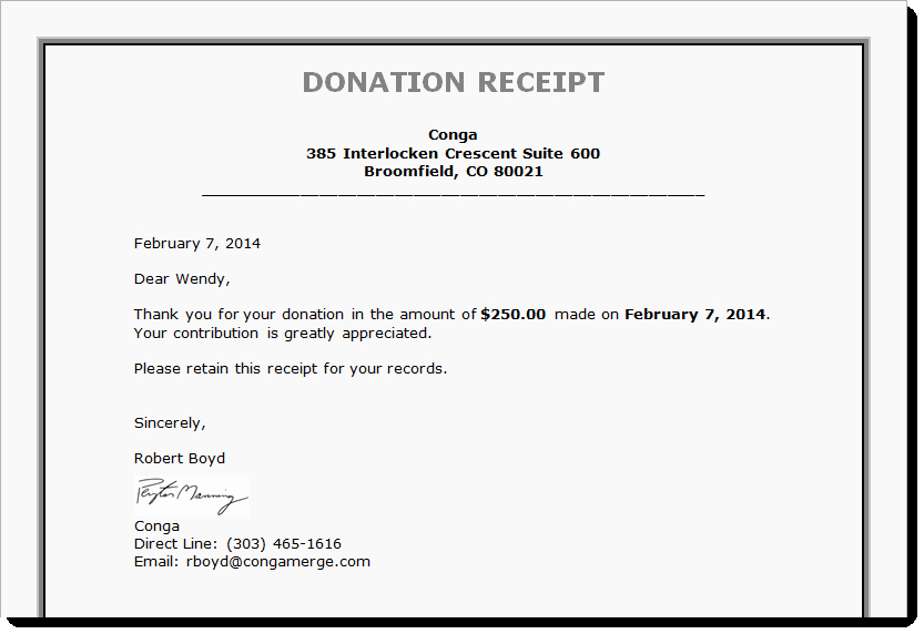 Donation Receipt Letter Template New Tax Receipts Board Reports and More Generating Documents