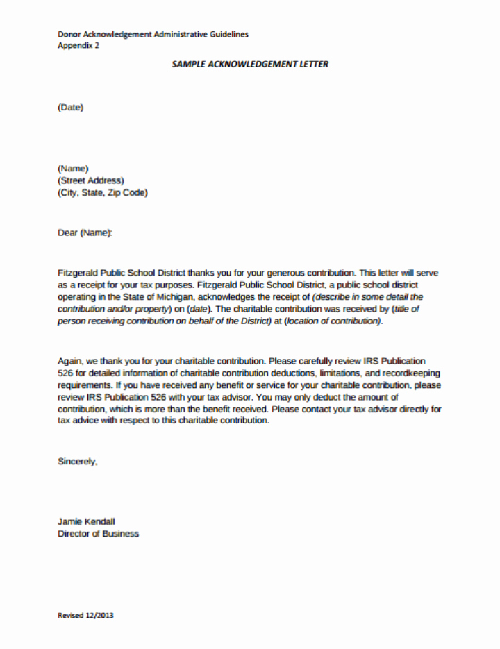 Donation Receipt Letter Template Unique 11 Donor Acknowledgement Letter Templates Pdf Doc