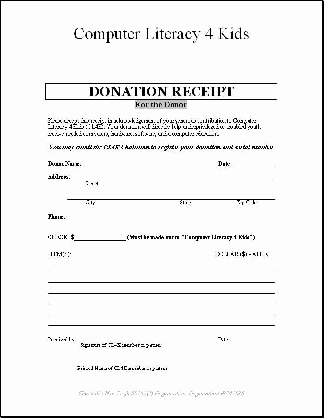 Donation Tax Receipt Template Awesome 4 Donation Receipt Templates Excel Xlts