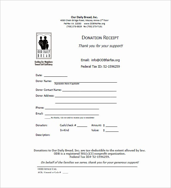 Donation Tax Receipt Template Lovely Receipt Template Doc for Word Documents In Different Types