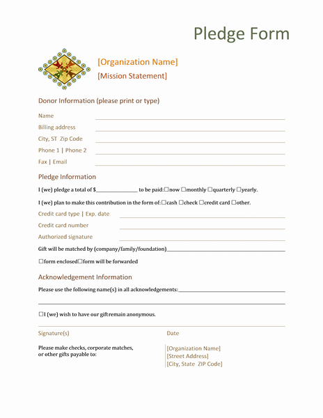 Donor Pledge Card Template Awesome Donation Pledge form Templates Microsoft Word Reports form