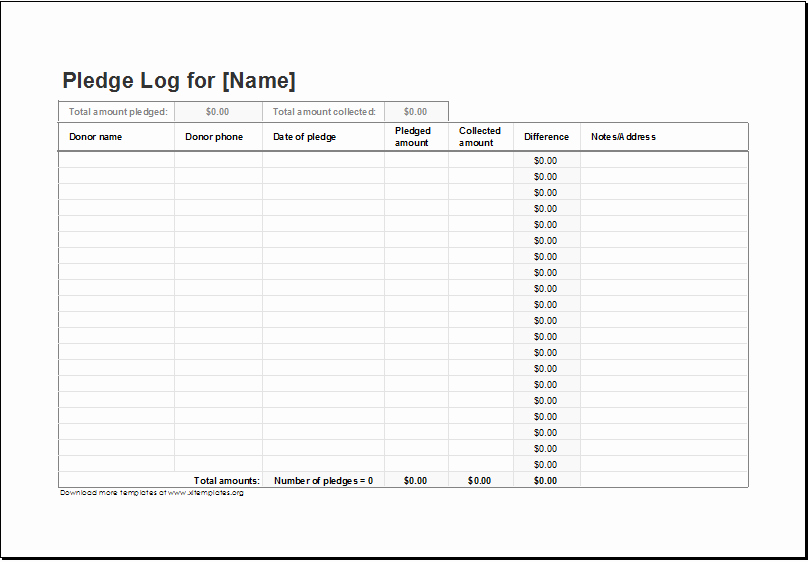 Donor Pledge Card Template Beautiful Donation Pledge Log Template for Excel
