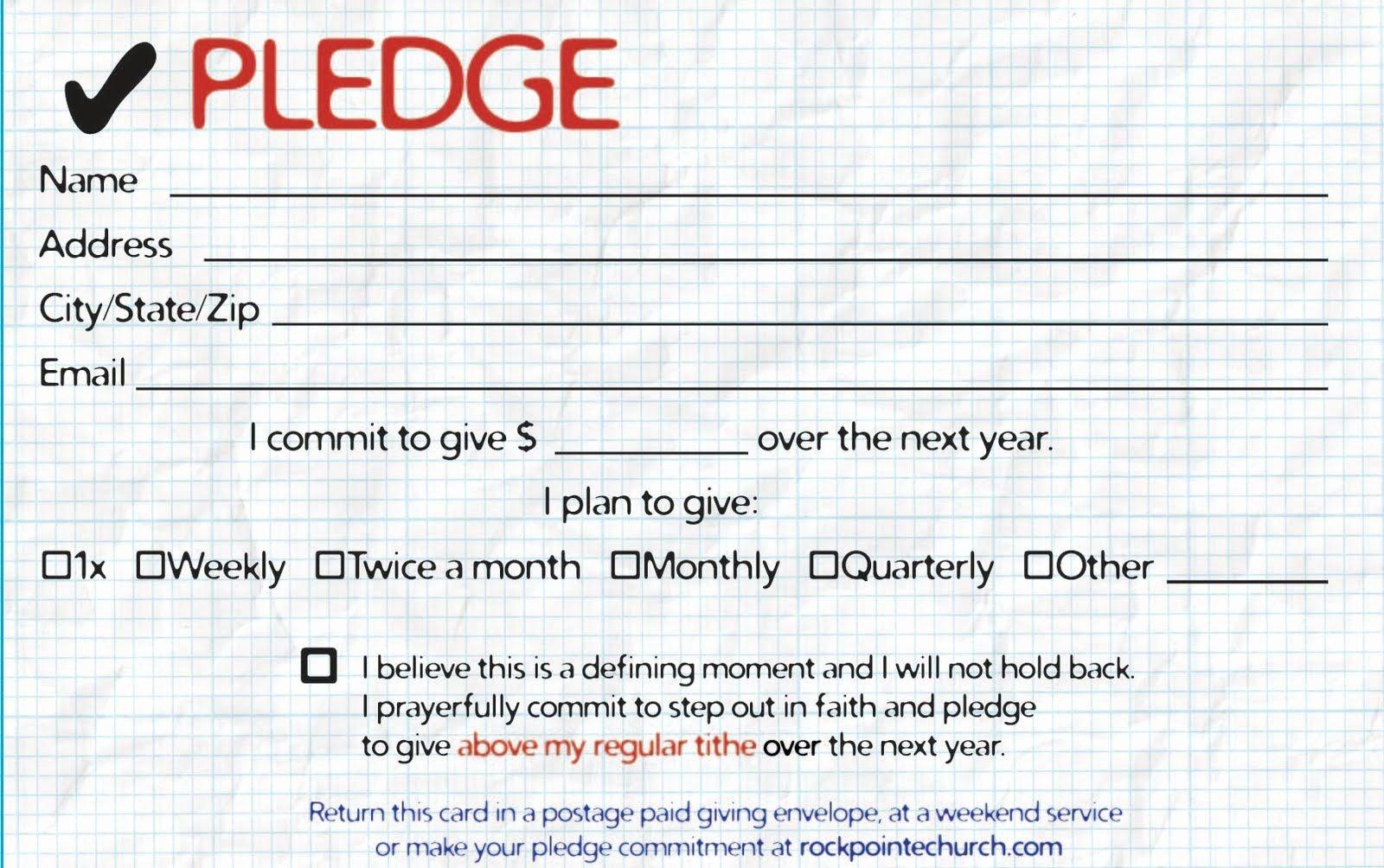 Donor Pledge Card Template Beautiful Pledge Cards for Churches Pledge Card Templates