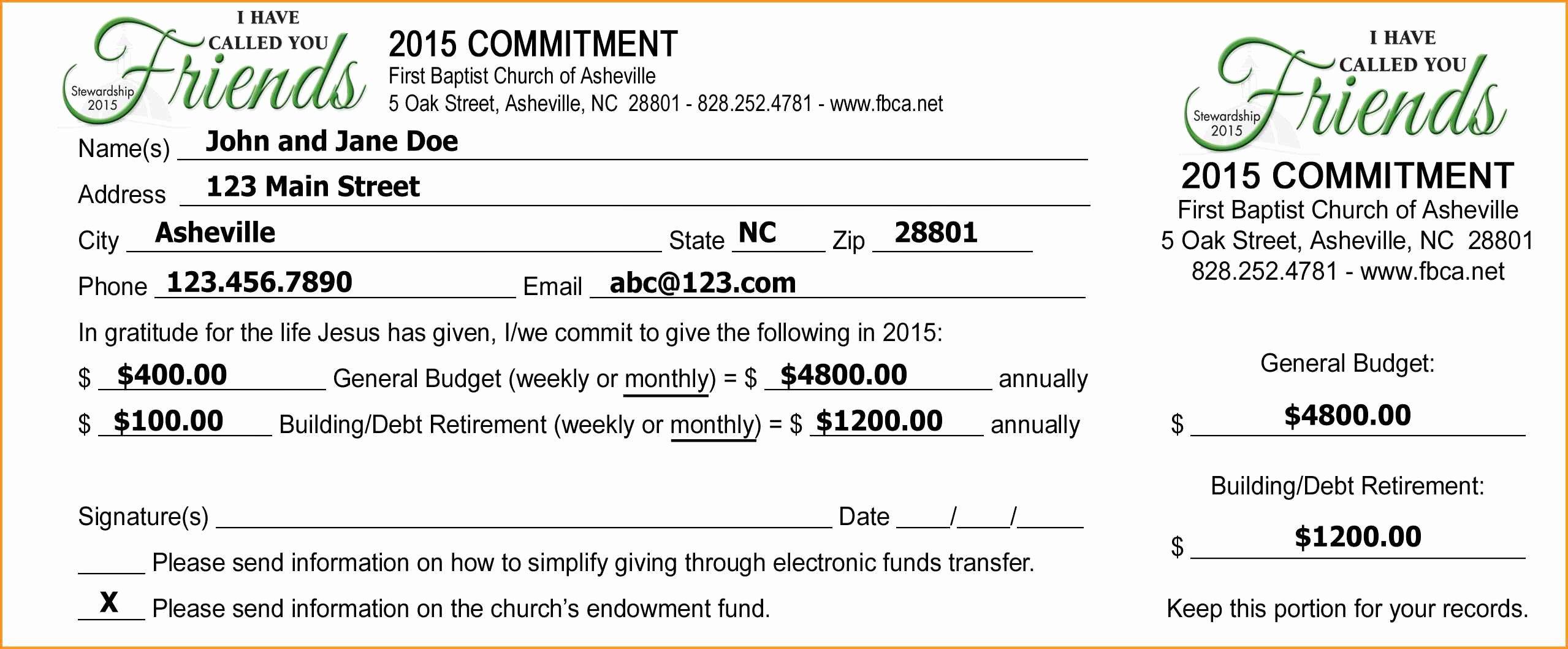 Donor Pledge Card Template Fresh Free Pledge Card Template