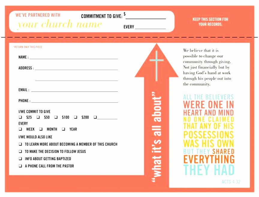 Donor Pledge Card Template Inspirational 5 Church Pledge Card Template Roeca