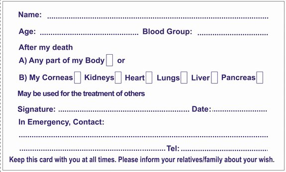 Donor Pledge Card Template Inspirational Donor Card Pledge Your organs Line