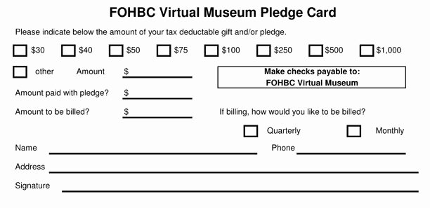 Donor Pledge Card Template Lovely Fohbc Virtual Museum Of Historical Bottles and Glass