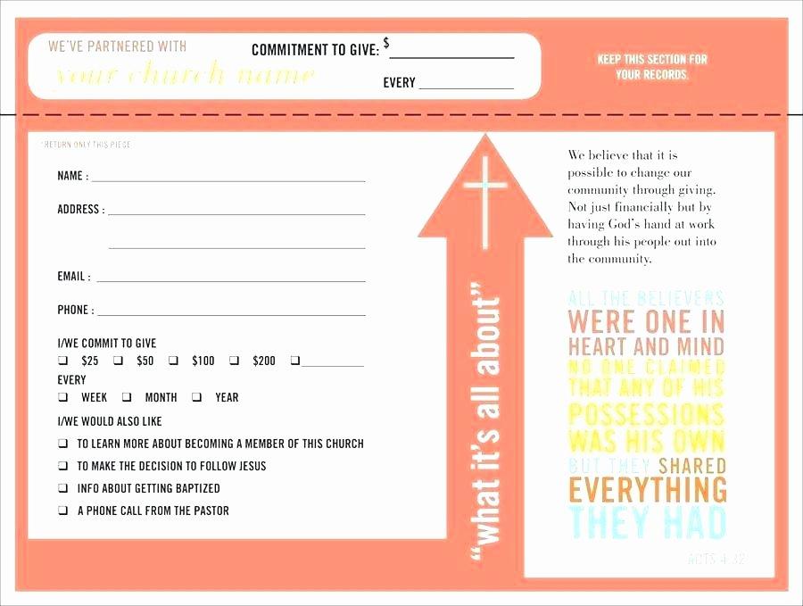 Donor Pledge Card Template Unique Pledge form Template
