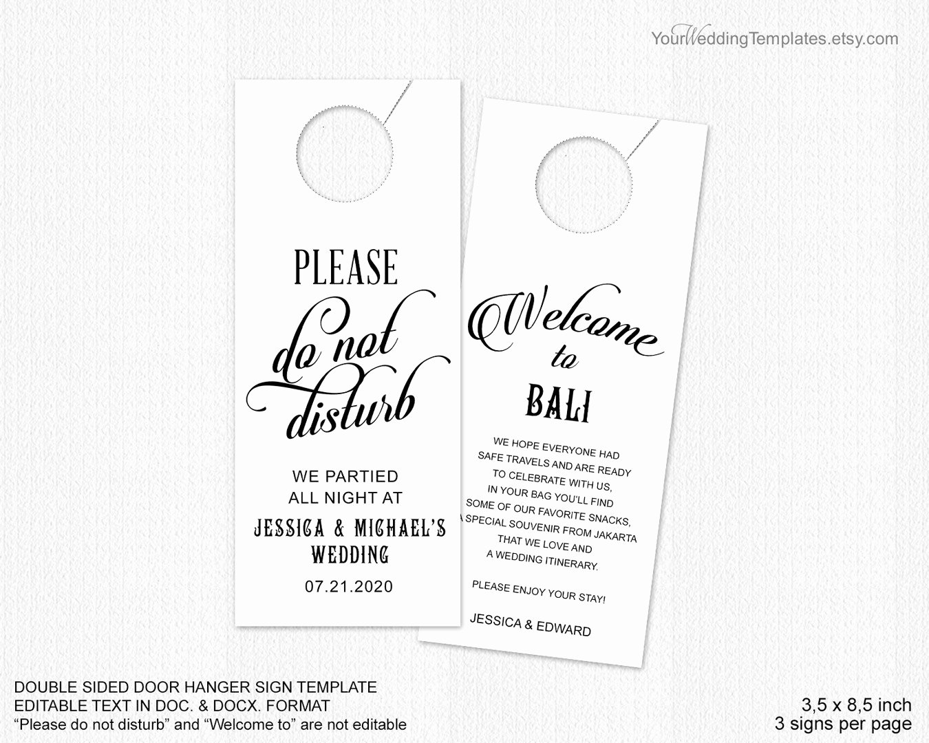Door Hanger Template Illustrator Unique Bruiloft Deur Hanger Template Niet Storen Deur Hanger Sign