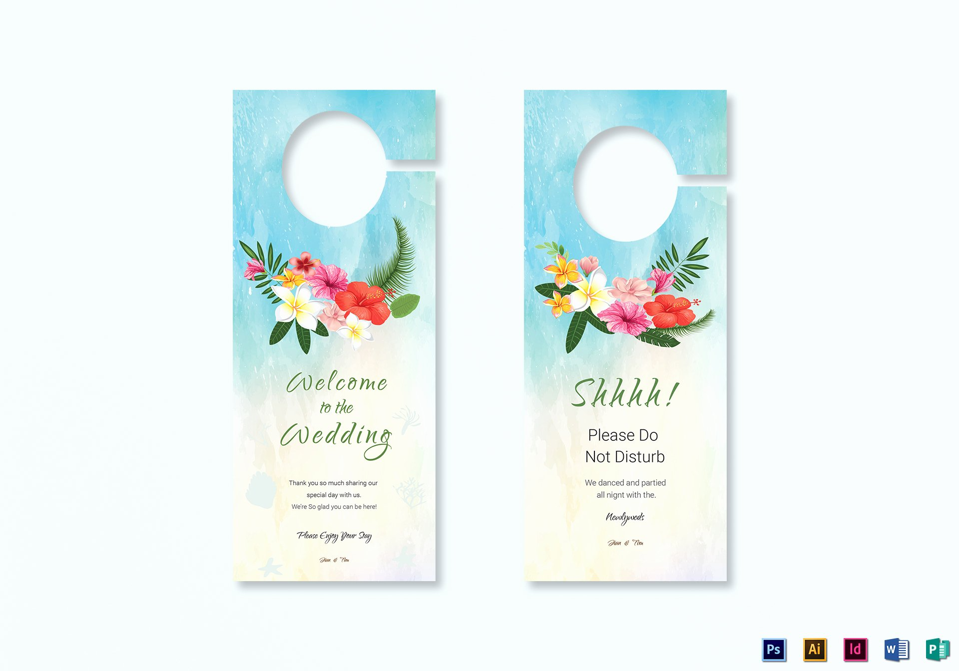 Door Hanger Template Publisher Luxury Beach Wedding Door Hanger Template In Psd Word Publisher