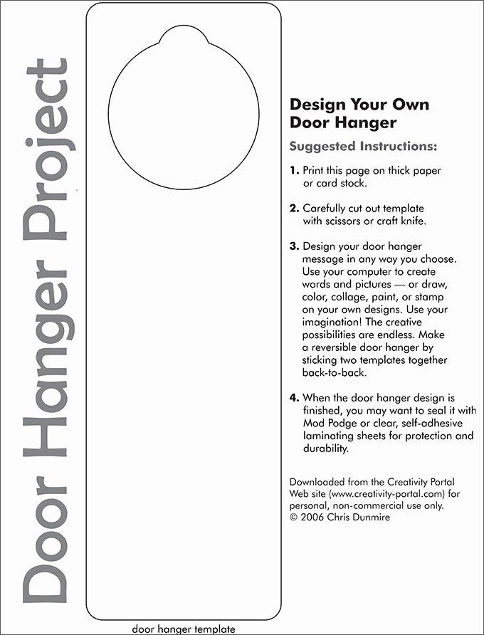 Door Knob Hanger Template Luxury Door Knob Hanger Template Pdf Templates Resume