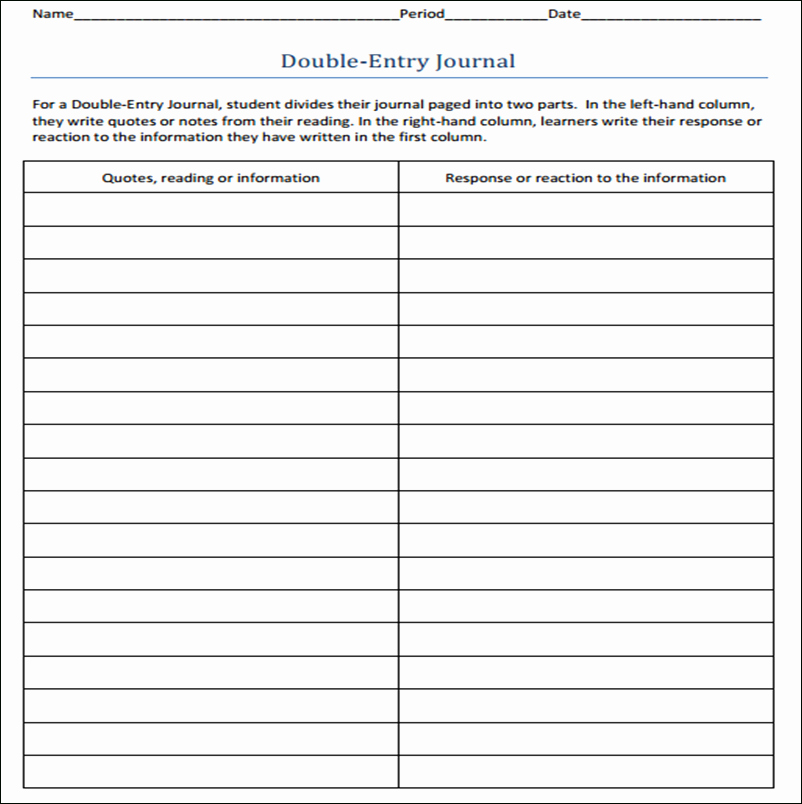 Double Entry Journal Template Awesome Double Entry Journal Template