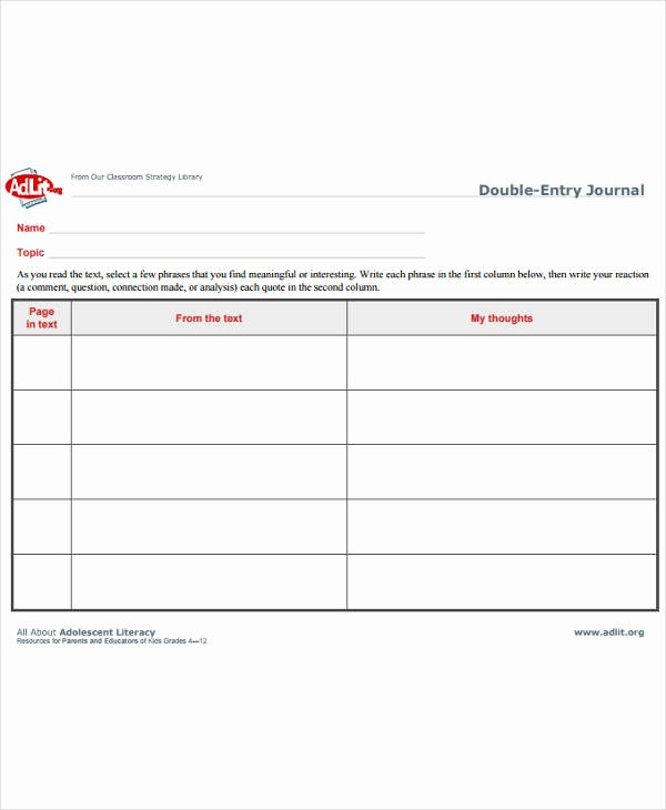 Double Entry Journal Template New 10 Double Entry Journal Templates Pdf Doc