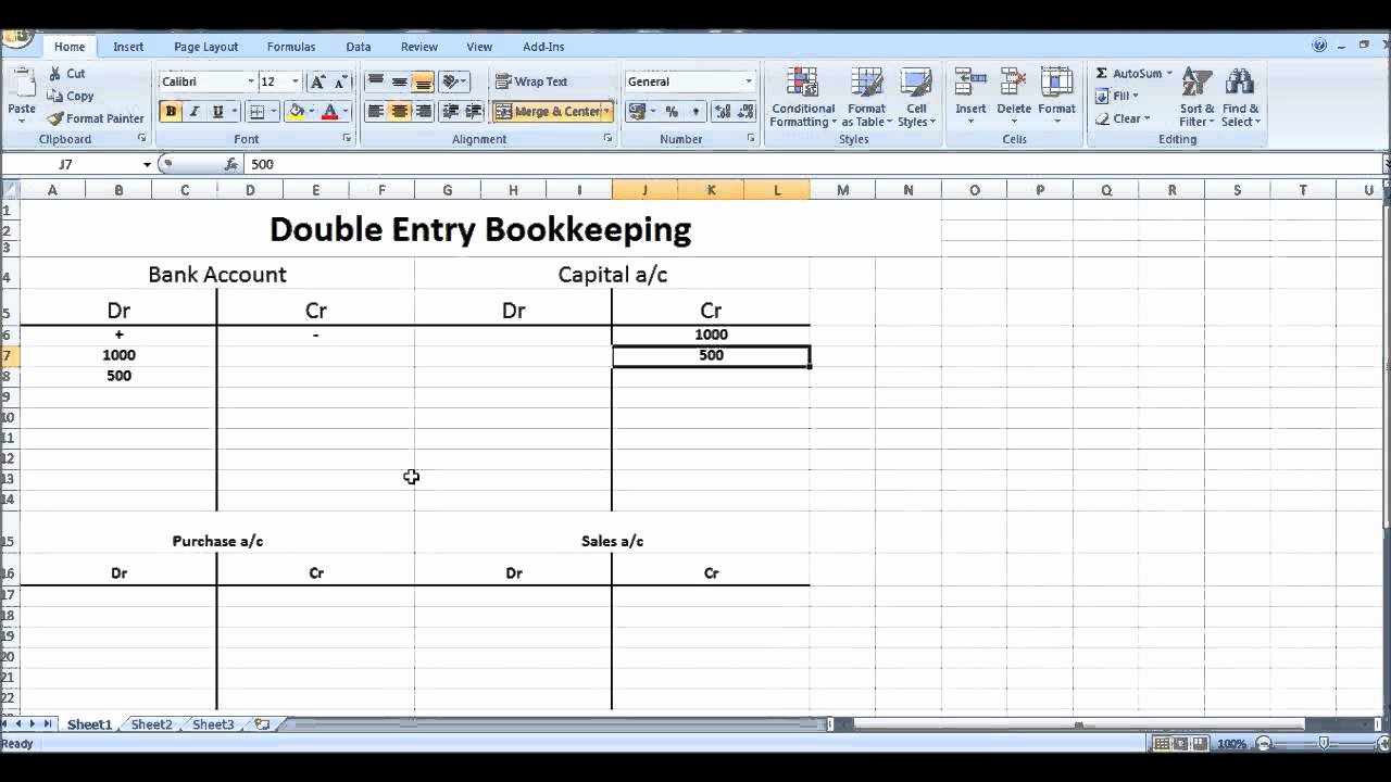 Double Entry Journal Template New Free Line Bookkeeping Course 7 Double Entry