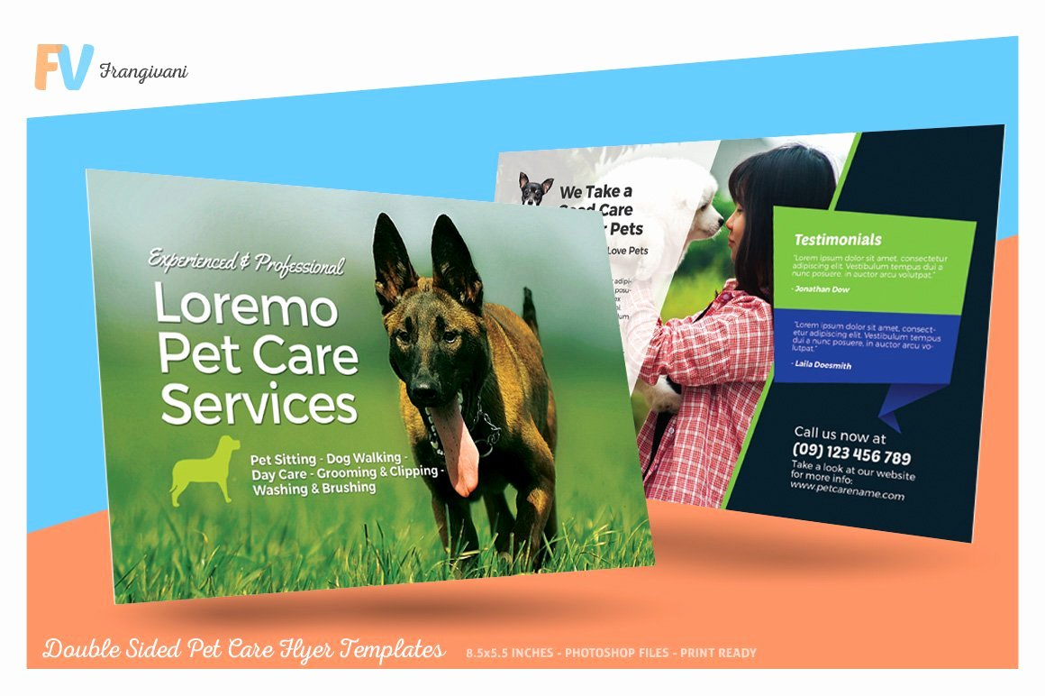 Double Sided Flyer Template Awesome Double Sided Pet Care Flyer Template Flyer Templates