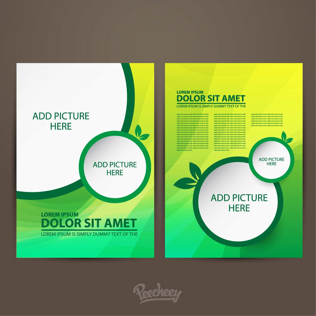 Double Sided Flyer Template Awesome Two Sided Green Brochure Template Vector