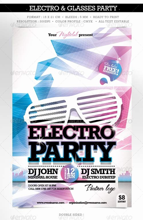 Double Sided Flyer Template New Graphicriver Electro & Fashion Glasses Flyer Double Sided