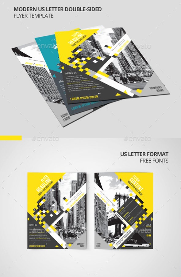 Double Sided Flyer Template New Modern Us Letter Double Sided Flyer Template by