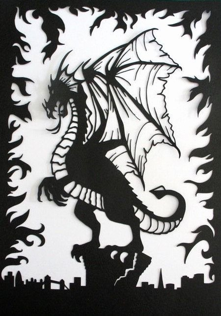 Dragon Cut Out Template Lovely Dragon Paper Cut Art Fantasy theme London Skyline Fire