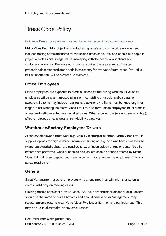Dress Code Policy Template Awesome Hr Manual Template