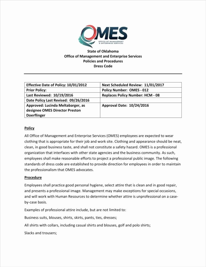 Dress Code Policy Template Beautiful 2 Dress Code Policy Templates Pdf