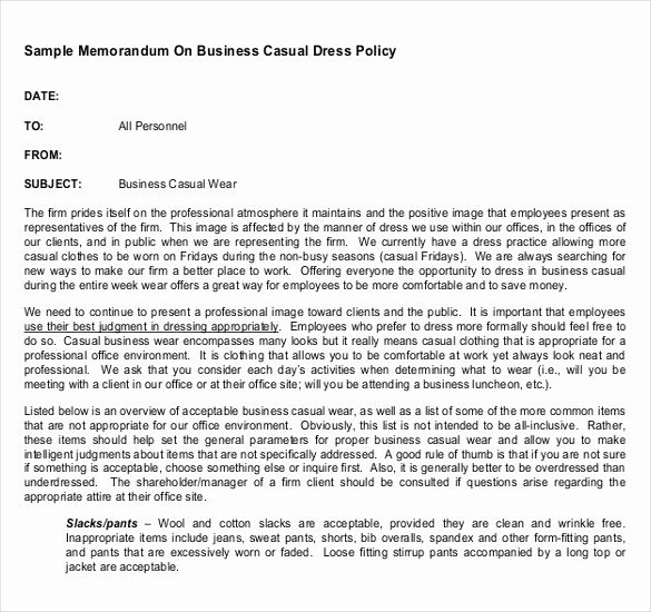 Dress Code Policy Template Beautiful Dress Code Policy Memo