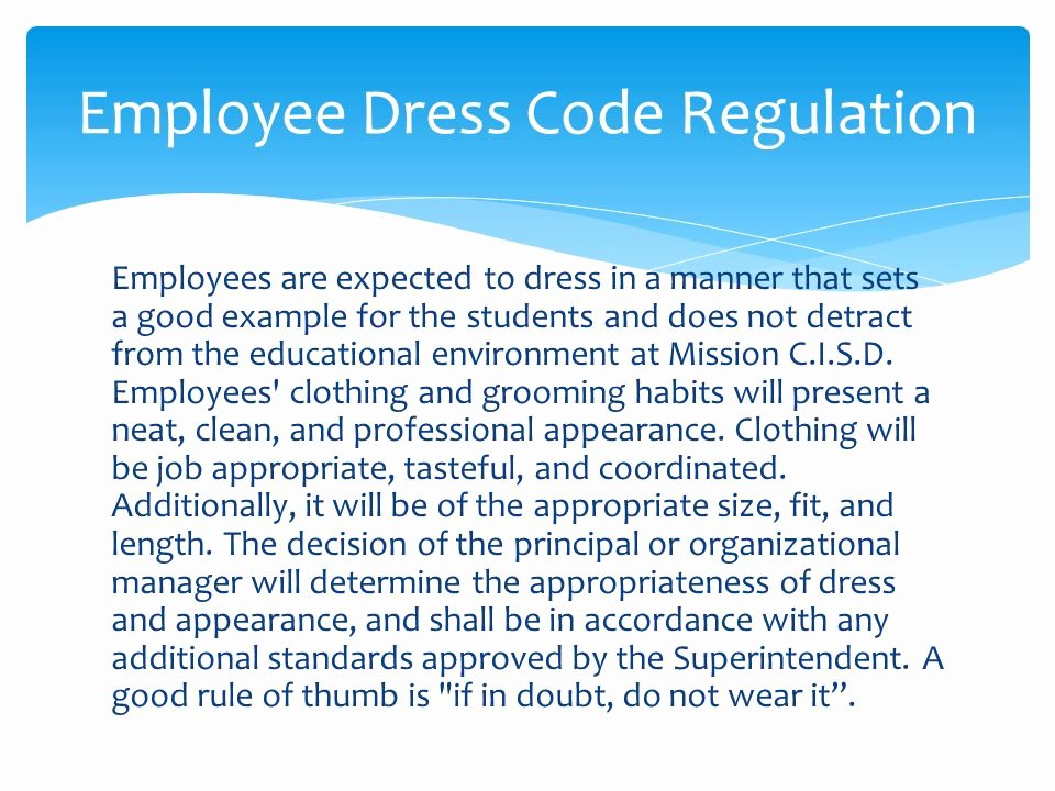 Dress Code Policy Template Best Of Employee Dress Code Policy and Administrative Regulation
