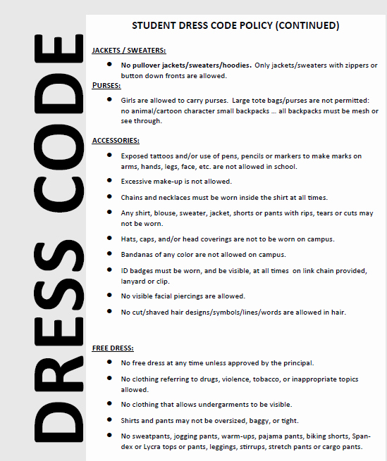 Dress Code Policy Template Fresh Stevenson Middle School Homepage