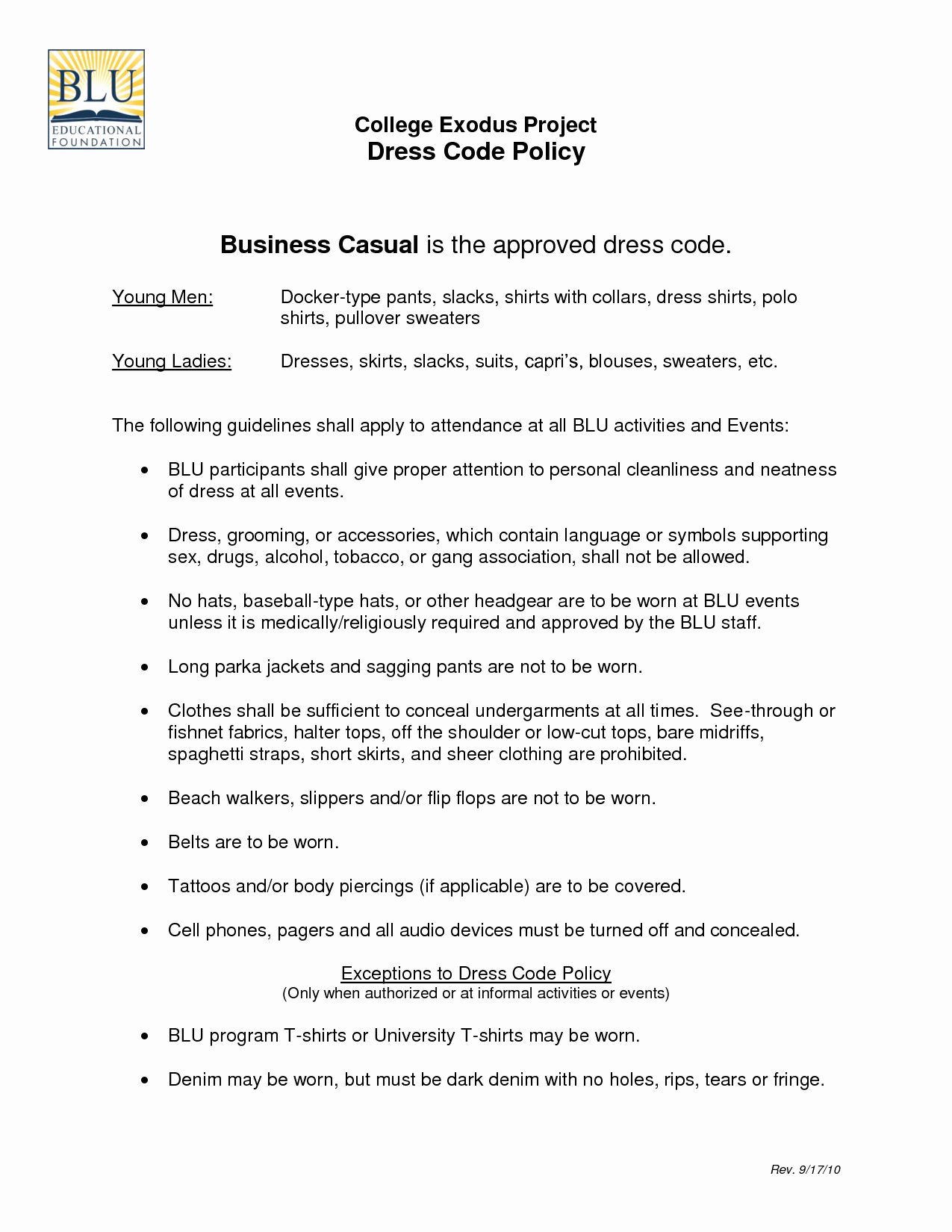 business dress code policy