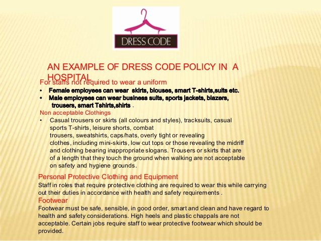 Dress Code Policy Template New Dress Code In Hospitals