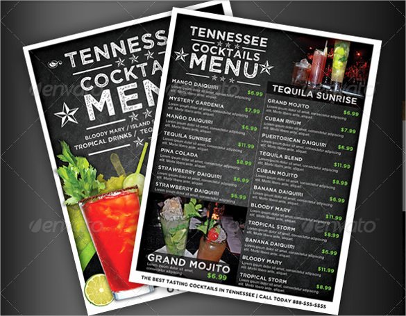 Drink Menu Template Free Awesome 28 Drink Menu Templates – Free Sample Example format